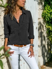 Black Pockets Single Breasted Turndown Collar Long Sleeve Casual Blouse