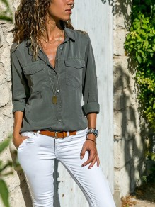 Grey Pockets Single Breasted Turndown Collar Long Sleeve Casual Blouse
