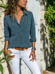 Blue Pockets Single Breasted Turndown Collar Long Sleeve Casual Blouse