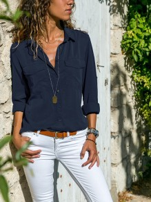 Navy Blue Pockets Single Breasted Turndown Collar Long Sleeve Casual Blouse