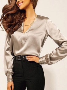 Khaki Buttons V-neck Long Sleeve Elegant Blouse
