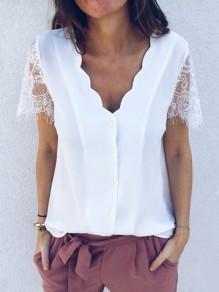 White Patchwork Lace Single Breasted V-neck Short Sleeve Blouse