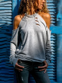 Grey Cut Out Round Neck Long Sleeve Casual Blouse