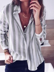 Grey Striped Buttons Single Breasted Turndown Collar Long Sleeve Fashion Blouse