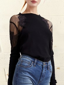 Black Patchwork Lace Grenadine Round Neck Fashion Blouse