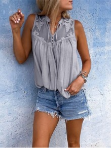 Grey Patchwork Belt V-neck Elegant Chiffon Blouse