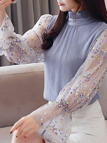 Blue Patchwork Ruffle Sequin Band Collar Elegant Blouse