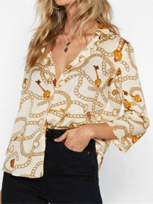 Beige Floral Pattern Chiffon V-Neck Three Quarter Length Sleeve Bohemian Casual Fashion Blouses