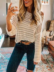 White Cut Out Long Sleeve Beach Smock Blouse
