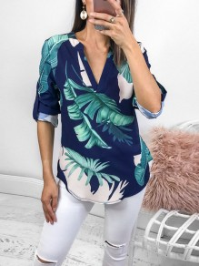 Navy Blue Palm Leaf Print Buttons V-neck Long Sleeve Fashion Bohemian Blouse
