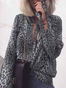 Grey Leopard Print Lace-up Round Neck Long Sleeve Fashion Blouse