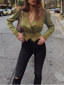 Army Green Wrap Buttons V-neck Long Sleeve New Fashion Latest Women Blouses