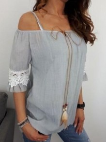 Grey Patchwork Lace Drawstring Lace-up Off Shoulder Short Sleeve Going out Blouse