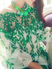 Green Patchwork Lace Leaf Print Cut Out Off Shoulder Long Sleeve Going out Blouse