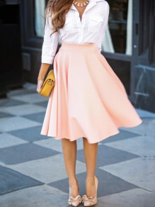 Nude Draped High Waisted Pleated Retro Flared Full A Line Party Prom Midi Skirt