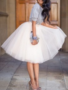 White Puffy Tulle Skirt Tutu Skirt