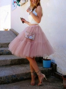 Pink Plain Grenadine High Waisted Layers Of Cute Puffy Tulle Tutu Skirt