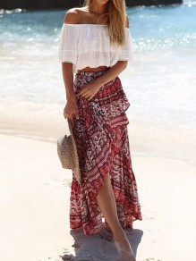 Red Floral Irregular Lace-up High Waisted Maxi Skirt