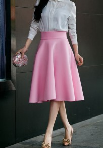 Pink Zipper Draped High Waisted A-Line Vintage Flared Skirt