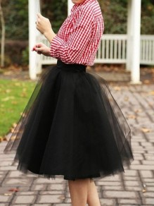 Black Grenadine Pleated Fluffy Puffy Tulle High Waisted Homecoming Party Adorable Tutu Skirt