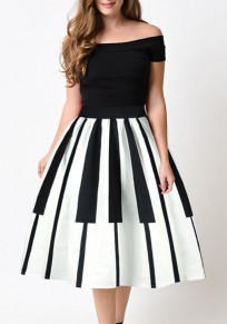 White Draped Piano Key Print Tutu High Waisted Party Skirt