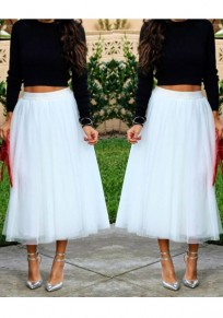 White Grenadine Fluffy Puffy Tulle Plus Size Homecoming Party Cute Sweet Skirt