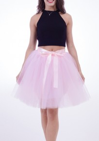 Pink Draped Grenadine Bow Puffy Tulle High Waisted Adorable Tutu Skirt