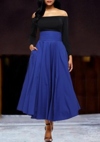 Blue Pockets Pleated Sashes Bowknot High Waisted Office Worker Midi Flare Skirt