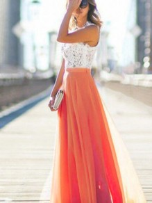Orange Patchwork Lace Draped Sleeveless Elastic Waist Elegant Maxi dress
