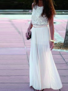 White Pleated High Waisted Bridesmaid Homecoming Party Sweet Skirt
