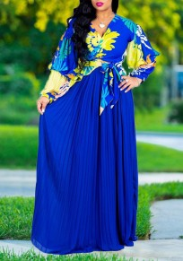 Blue Pleated Sashes Ruched Flowy High Waisted Bohemian Beachwear Party Skirt