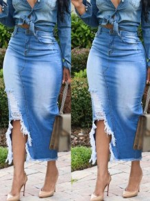 Blue Pockets Slit High Waisted Ripped Destroyed Unedged Distressed Trendy Skirt