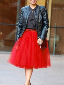 Red Patchwork Grenadine Pleated Tutu Homecoming Party Cute Elegant Midi Skirt
