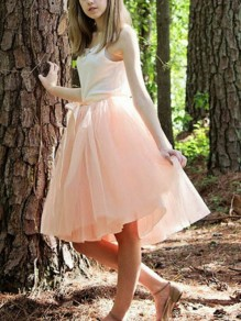 Pink Patchwork Grenadine Pleated Belt Bow Plus Size High Waisted Tutu Cute Homecoming Party Skirt