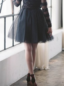 Black Patchwork Pleated Grenadine High Waisted Party Skirt