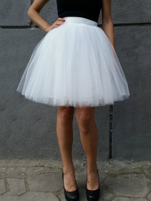 White Grenadine Pleated Plus Size High Waisted Tulle Tutu Sweet Skirt