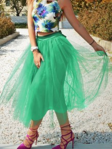 Green Patchwork Grenadine Pleated Plus Size High Waisted Tutu Cute Homecoming Party Skirt