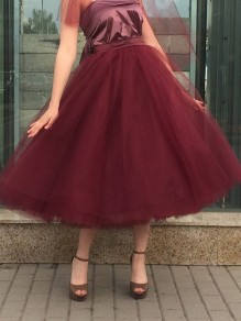 Burgundy Patchwork Grenadine Pleated Plus Size High Waisted Tutu Cute Homecoming Party Skirt