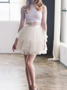 Beige Patchwork Grenadine Pleated Fluffy Puffy Tulle Homecoming Party Skirt