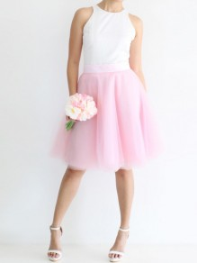 Pink Grenadine Pleated Adorable Tutu High Waisted Elegant Going out Tulle Skirt