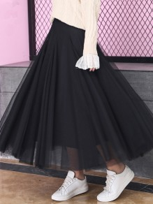 Black Patchwork Grenadine Pleated High Waisted Party Skirt