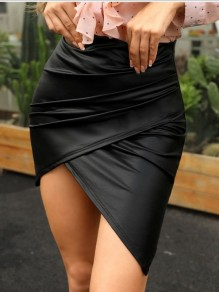 Black Pleated Irregular Bodycon High-Low PU Leather Latex Bubble vinyl High Waisted Party Skirt