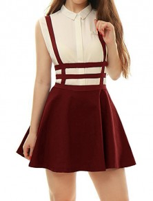 Wine Red Cut Out Shoulder-Strap Pleated Zipper Square Neck Sleeveless Elegant Overall Skirt