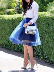 Blue Patchwork Grenadine Fluffy Puffy Tulle Tutu High Waisted Party Skirt