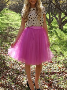 Pink Grenadine Fluffy Puffy Tulle Tutu High Waisted Homecoming Party Skirt