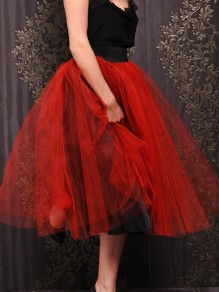 Red Pleated Grenadine High Waisted Party Tulle Midi Skirt
