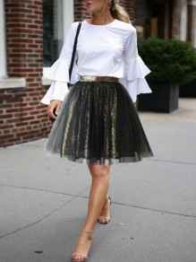 Golden Black Patchwork Sequin Grenadine Pleated High Waisted Homecoming Party Mini Tutu Skirt
