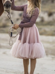 Pink Grenadine Pleated Fluffy Puffy Tulle High Waisted Sweet Bridesmaid Prom Mini Skirt