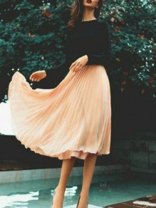 Apricot Patchwork Grenadine Double-deck Flowy Fluffy Puffy Tulle Elegant Skirt