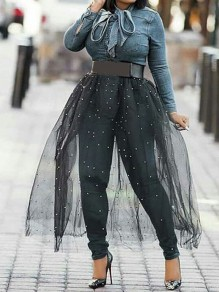 Black Patchwork Grenadine Pearl High Waisted Party Long Skirt
